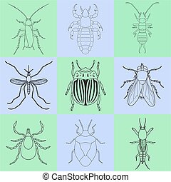 insect icons set. Earwig and tick, stink bug and cricket,...