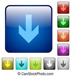 Color down arrow square buttons - Set of down arrow color...