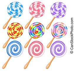 Colorful candy lollipops set of icons - the vortex of...