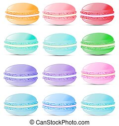 Set of sweets biscuits macaroon of different colors isolated on white background