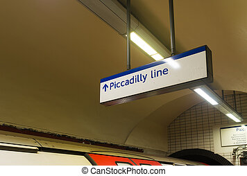 piccadilly line signboard - Piccadilly Line underground...