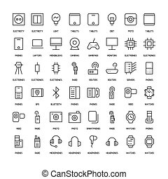 Electronics simple icons set. Paths. Vector illustration