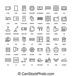 Computers simple icons set. Paths