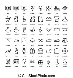 World activities and organizations simple icons set. Paths....