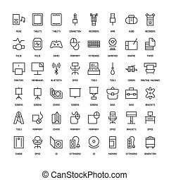 Computers simple icons set. Paths. Vector illustration
