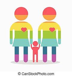 happy gay girl family rainbow icon