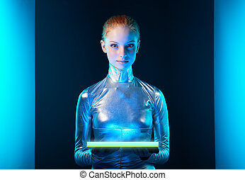 Futuristic young woman in silver clothing - Futuristic cyber...