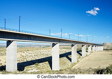 Viaduct - view of a high-speed viaduct in Roden, Zaragoza,...
