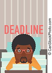 Man having problem with deadline - A stressed...