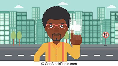 Man pressing like button - An african-american man pressing...