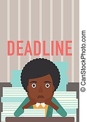 Woman having problem with deadline. - A stressed...