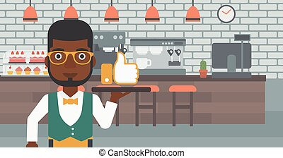 Waiter with like button. - An african-american waiter...