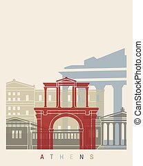 Athens skyline poster in editable vector file