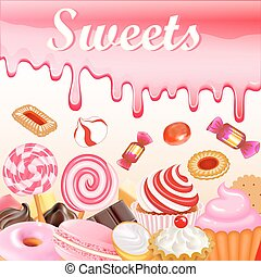 Sweet dessert food frame background glaze stains Pink...