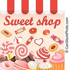 Background with sweet desserts, food, candy, donuts,...