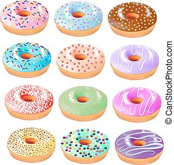 illustration set of colored donuts with icing and different...