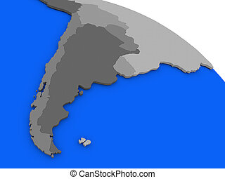 Argentina and Chile on political Earth model - Map of...