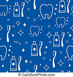 Vector dental seamless pattern white teeth on blue...