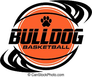 bulldog basketball team design with paw print inside ball...