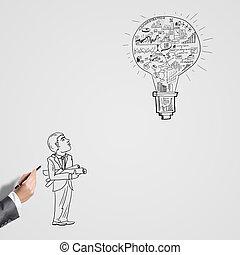 el bosquejar, idea, para, éxito