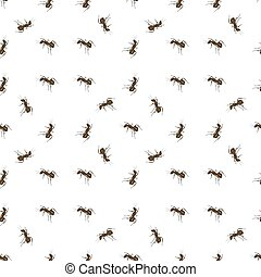 Ant Isolated on White Background. - Seamless Animal Pattern....
