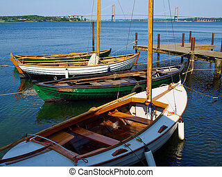 Old vintage wooden sail boats - Old vintage traditional...
