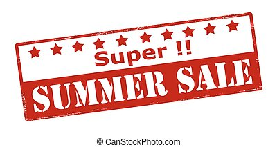 Super summer sale - Rubber stamp with text super summer sale...