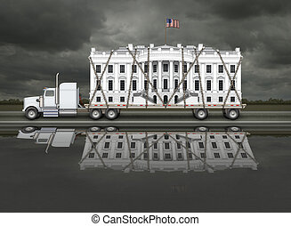 White House Being Delivered - Digital illustration of the...