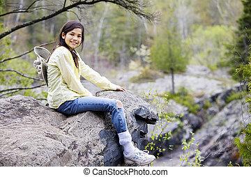 roca, borde, niña, acantilado, Sentado