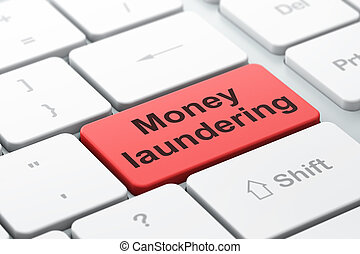 Money concept: Money Laundering on computer keyboard...