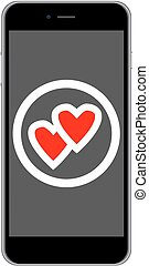 Mobile phone love icon