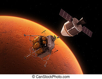 Interplanetary Space Station Orbiting Red Planet 3D...