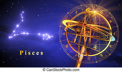 Armillary Sphere And Constellation Pisces Over Blue...