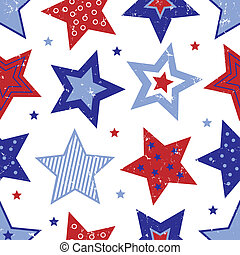 Fourth of July Stars Pattern - An illustration of red, white...