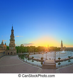 View of Spain Square (Plaza de Espana) on sunset, landmark...