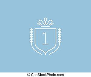 Elegant number 1 logotype. Premium numeral crest logo...