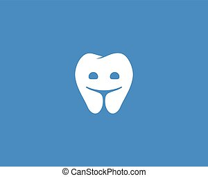 Dentist logo design template. Happy tooth creative symbol. Dental clinic modern sign mark icon.