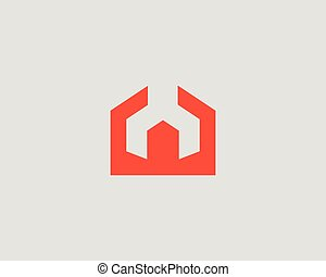 House repair service tool shop sign logotype. Creative idea wrench home icon vector mechanic logo. Negative space symbol.