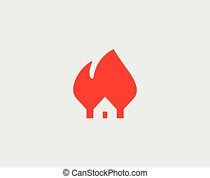 House fire logo design. Flame home insurance vector symbol.