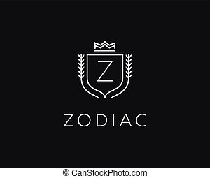 Premium monogram letter Z initials ornate signature logotype. Elegant crest logo icon vector design. Luxury shield crown sign.