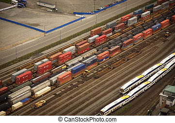 container train aerial view in downtown vancouver