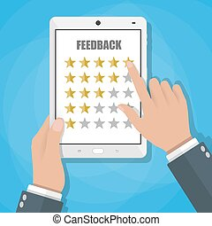 online review feedback concept - Hand holding and pointing...