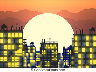vector city skylines in late evening