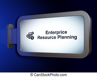 Finance concept: Enterprice Resource Planning and Calculator on billboard background