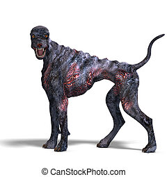 creepy alien dog out of hell. 3D rendering with clipping...