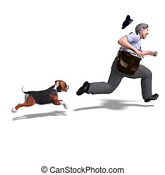 the postman runs from the dangerous dog. 3D rendering with...