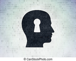 Finance concept: Head With Keyhole on Digital Data Paper background