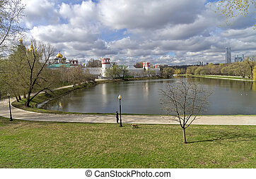 Pond at the walls of the Novodevichy Convent. Moscow.