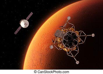 Spacecrafts, El moverse en órbita alrededor, rojo,...