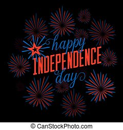 Fourth of July background. Felicitation postcard. USA Happy...